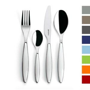 Fourchette, couteau, cuillière, petite cuillière Feeling Couleur de chez Guzzini